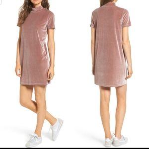 Madewell Mauve Velvet Mockneck Shift Dress L